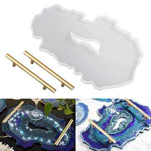 Sorlakar Silicone Resin Tray Molds,Large Geode Agate Platter Mold with 2pcs Metal Handles,Epoxy Resin Casting Molds for Making Faux Agate Tray,Serving Board (Irregular)