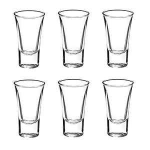 Shot Glass Set of 6, 1-Ounce Tequila Shot Glasses, Heavy Base Whiskey Shot Glass Gin, Spirits Shot Glasses for Fathers day Home Party Bar - Clear
