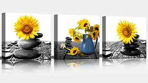 Canvas Wall Art Modern Zen Stone Vase Yellow Sunflower Decor for Bedroom Bathroom Kitchen Wall Decor Black and White Canvas Art Wall Decoration for Office 3 Piece Home Decor Ready to Hang