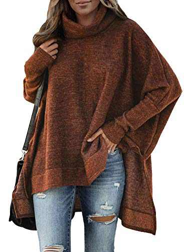 AlvaQ Womens Long Sleeve Sweater Cowl Neck Casual Loose Knitted Pullover Tops Outwear Fahsion 2020 Brown Small