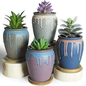 ARTKETTY 3.5 Inch Succulent Planter Pots with Drainage Hole, Small Ceramic Cactus Flower Plant Pots with Tray Modern Glazed Bonsai Planter Container for Indoor/Outdoor Plants Pack of 4