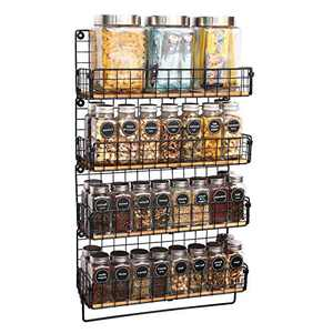 X-cosrack Wall Mounted Spice Rack with Towel Hanger 4 Tier Hanging Seasoning Jar Storage Rack Iron Wire & Wood Condiment Bottle Organizer Holder Rack Floating Shelf for Home Kitchen Bathroom