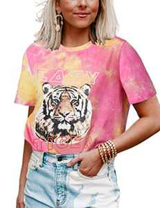 Women's Easy Tiger Graphic Tee Tie Dye T-Shirt Short Sleeve Casual Funny Tops (Small,Pink Yellow)