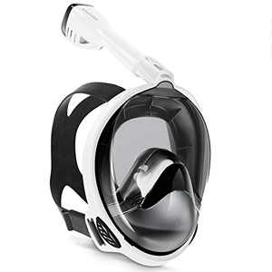 Keystand Full Face Snorkel Mask,Breathing Mechanism Snorkeling Masks for Kids Adults,Flat Crystal Lens,180° Panoramic Anti-Leak/Anti-Fog Mask and Snorkel with Detachable Camera Mount