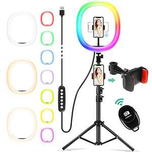 """Chesbung 12"""" RGB Selfie Ring LED Light with Adjustable Tripod Stand Bluetooth Remote Shutter&Phone Holder for YouTube/Makeup/Live Stream/Selfie/Photography with 14 Light Modes &10 Brightness Level"""