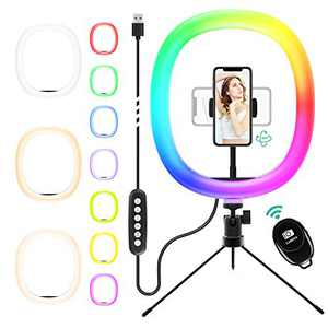 "12"" RGB Selfie Ring Light & Adjustable Tripod Stand with Cell Phone Holder for Live Stream/Make Up/YouTube/TikTok/Photography/Video Recording Compatible with iPhone & Android Phone-Medium"