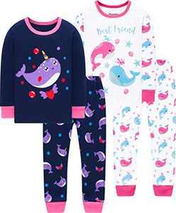 Girls Dolphin Pajamas Christmas Children Jammmies School Sleepwear Kids Cotton Pants Set Size 4