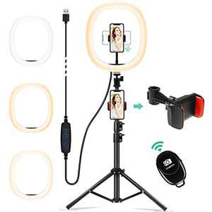 """Chesbung 12"""" Selfie Ring LED Light with Adjustable Tripod Stand Bluetooth Remote Shutter&Phone Holder for YouTube/Makeup/Live Stream/Selfie/Photography with 3 Light Modes & 10 Brightness Level (Large)"""