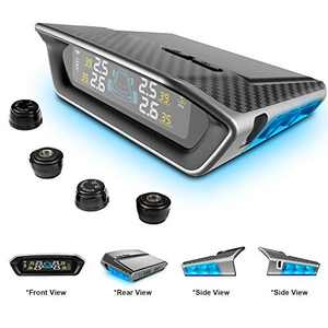 STEEL MATE Tire Pressure Monitoring System for Car - Solar Charge, Carbon Fiber Appearance, Auto Backlight & Sleep & Awake Mode, with 4 External Tpms Sensor