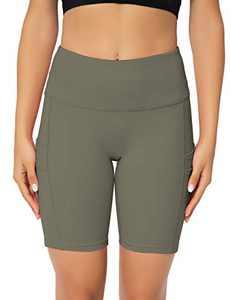 """ZIIIIIZ Women's 8"""" /5"""" High Waist Biker Shorts with Pockets Yoga Workout Running Athletic Shorts for Women(Green-XL)"""