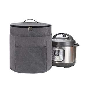 KGMCARE 2 Compartments Pressure Cooker Cover Compatible with Ninja Foodi 8 Quart Pressure Cooker, Dust Cover with Front Pocket for Accessories (Light Gray)