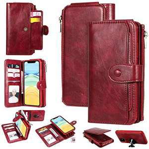 YIKATU iPhone 11 Pro Max Wallet Case,6.5 Inch Leather Case with Card Holder,2 in 1 Premium Leather Zipper Detachable Magnetic 11 Card Slots Money Pocket Clutch for Women - Red