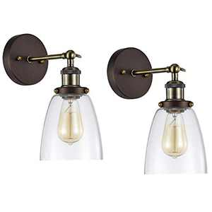 MICSIU 1-Light Industrial Wall Sconce Light Fixture 2 Pack Oil Rubbed Bronze Finish Clear Glass Shade