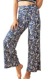 CAMPSNAIL Comfort Pajama Pants for Women- Buttery Soft Floral Print High Waisted Drawstring Palazzo for Yoga Lounge