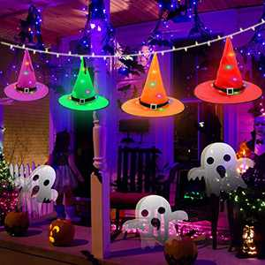 Halloween Decorations String Lights,16.4ft Halloween Decorations String Lights Include 4 Colorful Light Outdoor Hanging Lighted Battery Operated,Christmas Home Decor Lights for Outdoor Indoor Yard