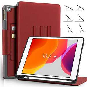 BeeFly iPad 7th Generation 10.2 Case/iPad 10.2 Case,6 Viewing Angles Magnetic Stand + Apple Pencil Holder + Auto Wake/Sleep + Heavy Duty Rugged Full Protective Cover for 10.2 inch iPad - Red