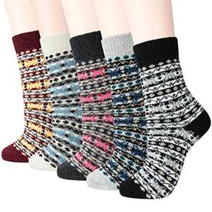 Women Winter Socks Warm Thick Wool Soft Women Socks 5 Pairs Free Size Vintage Wool Socks for Women (Mix6)