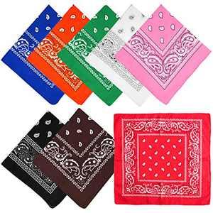 CKANDAY 8 Pieces Classic Bandanas Cowboy Multipurpose Print Head Wrap Scarf Headbands Handkerchiefs Necktie Wristband for Adults Women Men Kids