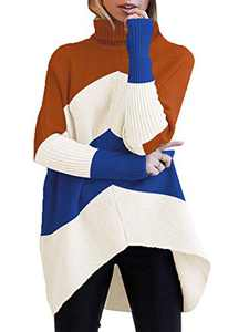 Boncasa Womens Oversized Sweaters Batwing Sleeve Lightweight Knit Irregular Hem Pullover Jumper Tops White Blue B8C7-bailan-XS