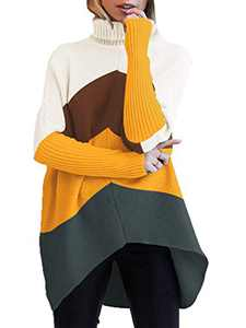 Boncasa Womens Oversized Sweaters Batwing Sleeve Turtleneck Knit Irregular Hem Pullover Knitwear Brown Yellow B8C7-zonghuang-S