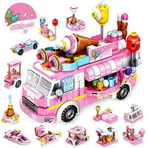 VATOS Girls Building Blocks Toys 553 Pieces Ice Cream Truck Set Toys for Girls 25 Models Pink Building Bricks Toys STEM Toys Construction Play Set for Kids Best Gifts for Girls Age 6-12 and Up