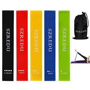 SZREDU Resistance Loop Bands Set of 5 Exercise Bands for Fitness Yoga Stretching Strength Training Pilates Flexbands 12 inch Natural Latex Full Body Workout Band