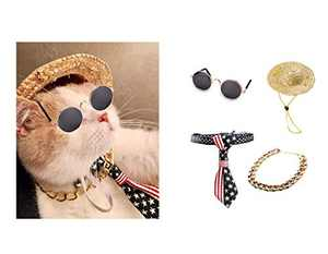 WODISON Cool Pet Dog Cat Costume Sunglasses and Gold Chain Collar Set of 4