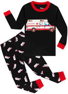 Little Boys Girls Ambulance Pajamas Christmas Kids Cotton Pyjamas Long Sleeve Pants Clothing Set 4t