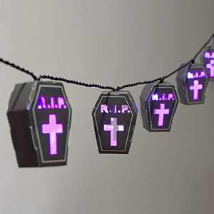 Halloween Lights String, LED Graveyard Tombstone Light Battery Operated, 15 Purple Led with Paper Gravestone Lantern Holiday Lights for Halloween Party Bedroom Mantle Fireplace Decoration
