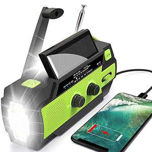 WISCENT Emergency Crank Radio,4000mAh-Solar Hand Crank Portable AM/FM/NOAA Weather Radio with 1W Flashlight&Motion Sensor Reading Lamp,Cell Phone Charger, SOS for Home and Emergency