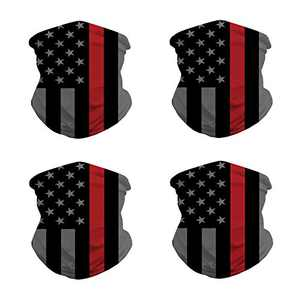 4 Pack American Flag Face Bandana Balaclava,Sun UV Protection Scarf-Red&Blck