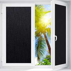 "Coavas Window Films Blackout Silk Privacy Static Cling Window Sticker Total Cover for Kids Room Darkening Window Tint 100% Light Blocking for Day Sleep No Glue Baby Nap Security (Black, 34.5""x78.1"")"