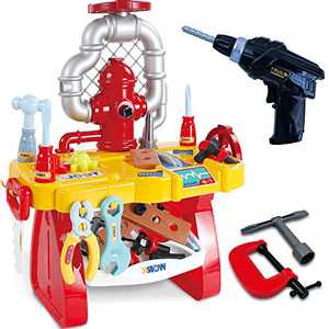 Gifts2U Pretend Play Workbench with Electric Drill, Kids Tool Bench Play Set STEM Building Puzzles Learning Tool Toy Kit for Toddlers Age 3 Gifts