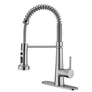 TUTEW Kitchen Faucet,Solid Brass Kitchen Faucet with Sprayer, Low Lead Kitchen Sink Faucet, Brushed Nickel Kitchen Faucet, Pull Down Kitchen Faucet