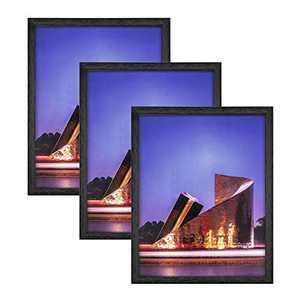11x14 Certificate Poster Picture Frame Black, Real Glass Front, Display Photos 11 by 14 without Mat or Diploma 8.5 x 11, 8x10, 9x12 Pictures with Mat (NOT INCLUDE), Wall Mounted Horizontal and Vertical Formats