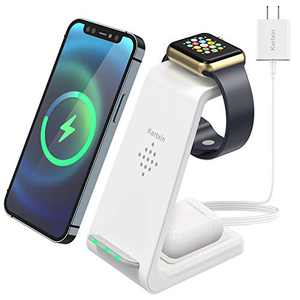 Kertxin 3 in 1 Qi-Certified Wireless Charger,Wireless Charging Station Dock for Apple Watch,AirPods,Wireless Charging Stand for iPhone 12/11/Pro/X/XS/XR/8/8 Plus,Samsung Galaxy S20 S10 S9 S8 Note 10