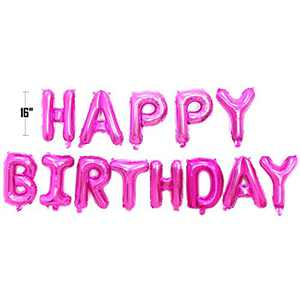 Happy Birthday Balloon Banner Bunting 16 inch Letters Foil Balloons Party Decor (Pink)