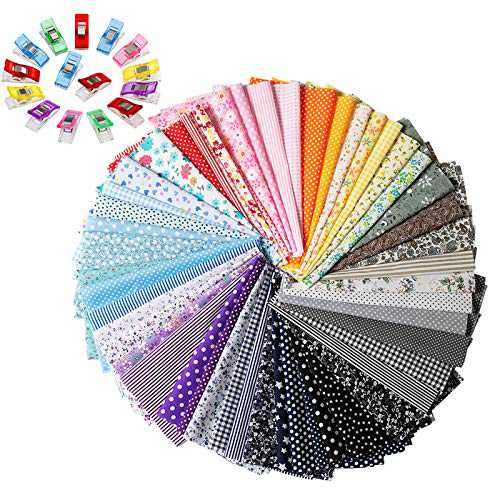 """Quilting Fabric for Sewing, Ehpow 50pcs Floral Pattern 9.84"""" x 9.84"""" (25cm x 25cm) Craft Fabric Bundle Patchwork Pre-Cut Quilt Squares Fabric, with 50pcs Colorful Plastic Wonder Clip Sewing Clips"""
