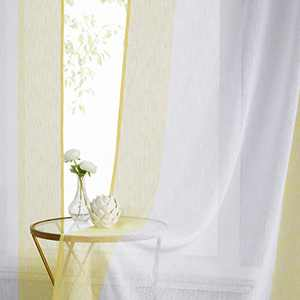 WEST Lake Sheer Curtain Vertical Stripe Color Block Panels for Bedroom Living Room Kitchen Rod Pocket Linen Look Semi Sheer Curtain, 40'' x 95''x 2, Yellow White
