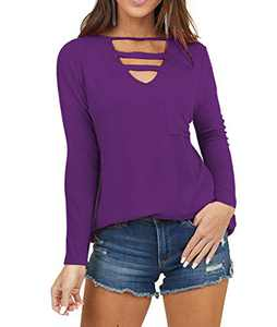 AMCLOS Womens Top V Neck Cutout Tunic with Front Pocket Scoop Neck Long Sleeve Blouses(Purple,XL)
