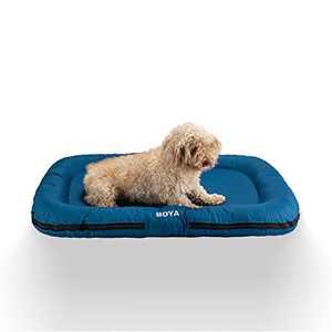 HZBOYA Large Dog Bed Mat for Medium Large Dogs and Cats Sponge Pad Pet Mattress Machine Washable Anti-Slip and Anti-Mite Soft Travel Sleeping Dark Blue