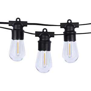 We Charger Outdoor Led Lights Patio, S14 String Lights Waterproof 48FT 15+1Spare 1W Vintage Plastic Balcony Lights Bulbs,Dimmable Outside Lights String for Backyard Cafe Party Porch Decor
