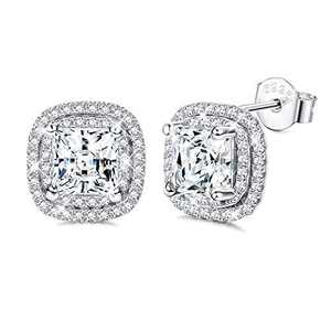 Sllaiss Halo Stud Earrings for Women 14K White Gold Plated Sterling Silver Fine Jewelry Stones from Czech Square CZ Brillant Cut Halo Earrings Mother Gift