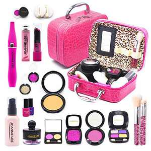sun gurg Girl Makeup Kit with Cosmetic Bag, Kids Beauty Pretend Play Toys for Girls Age Over 3, Eye Shadows, Lipstick, Mascare, Gittler, Liquid Foundation, Nail Polish and More, Not Real