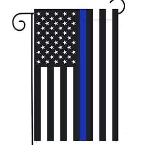 Fastkoala Thin Blue Line Garden Flag - 12x18in Double Side Blue Line Police Yard Flag Banner Patriotic Outdoor Lawn Decoration