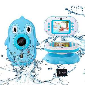 """Luoges Kids Waterproof Digital Camera Toys for 4-12 Year Old Boys Girls Christmas Birthday Gifts,Underwater Camera for Toddlers with 2.4"""" Large Screen with Silicone Case/Game/8GB TF Card(Blue)"""