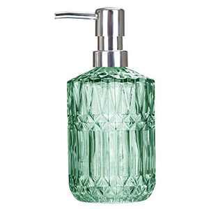 TISUZXCV Hand Glass Soap Dispenser, 12 Oz Dish Liquid Soap Dispenser for Kitchen,Hand Sanitizer Dish Soap Detergentl Shampoo Pump, Ideal for Bathroom Countertop, Kitchen,Laundry Room (Clear Green)