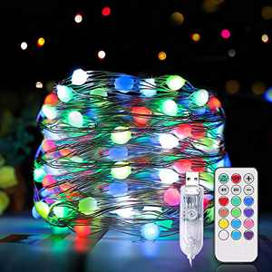 Christmas Fairy Lights, Christmas Lights Indoor Outdoor, 100 LED 33Ft Color Changing Fairy String Lights with Remote Waterproof 12 Modes USB Christmas Lights for Party Holiday Wedding Decoration
