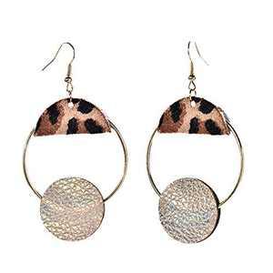 Glitziest Women's Personalized Geometric Leather Leopard Print Ring Pie Earrings