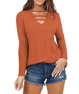 AMCLOS Womens Top V Neck Cutout Tunic with Front Pocket Scoop Neck Long Sleeve Blouses(Orange,S)